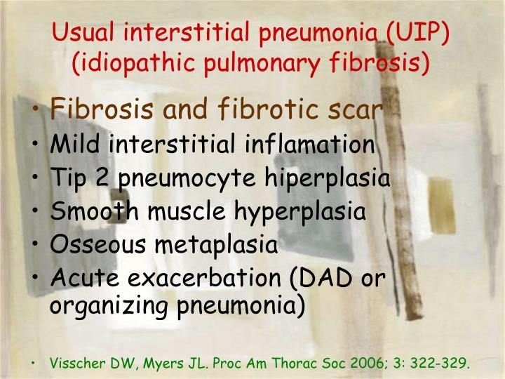 Usual interstitial pneumonia (UIP) (idiopathic pulmonary fibrosis)