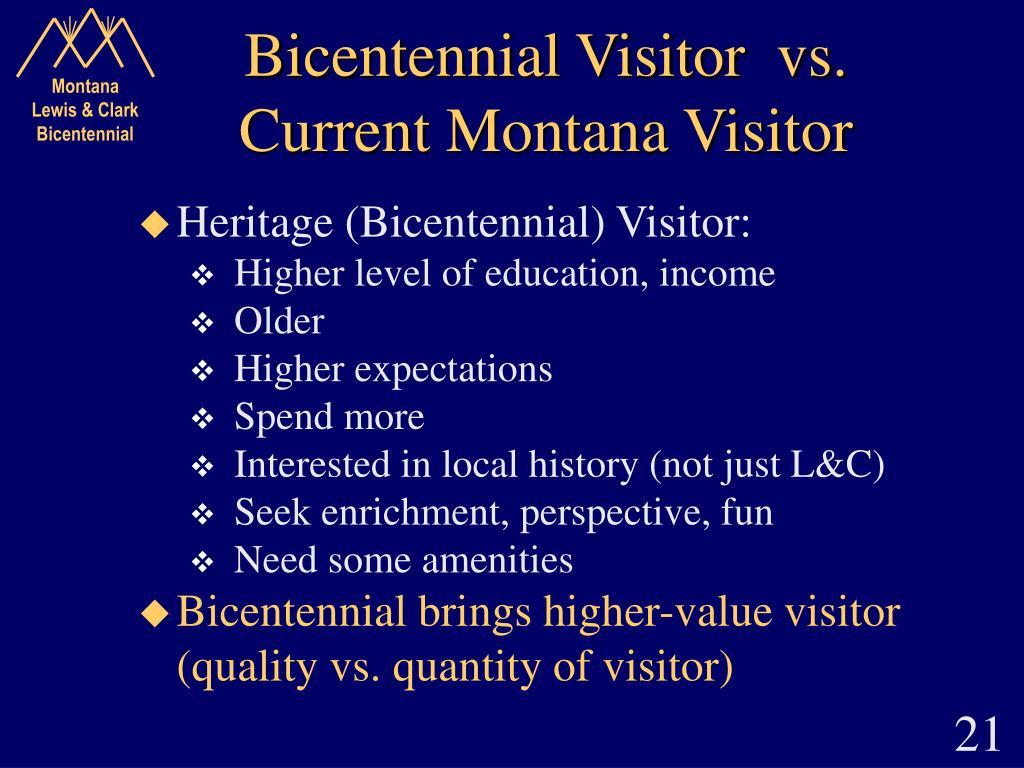 Bicentennial Visitor  vs.