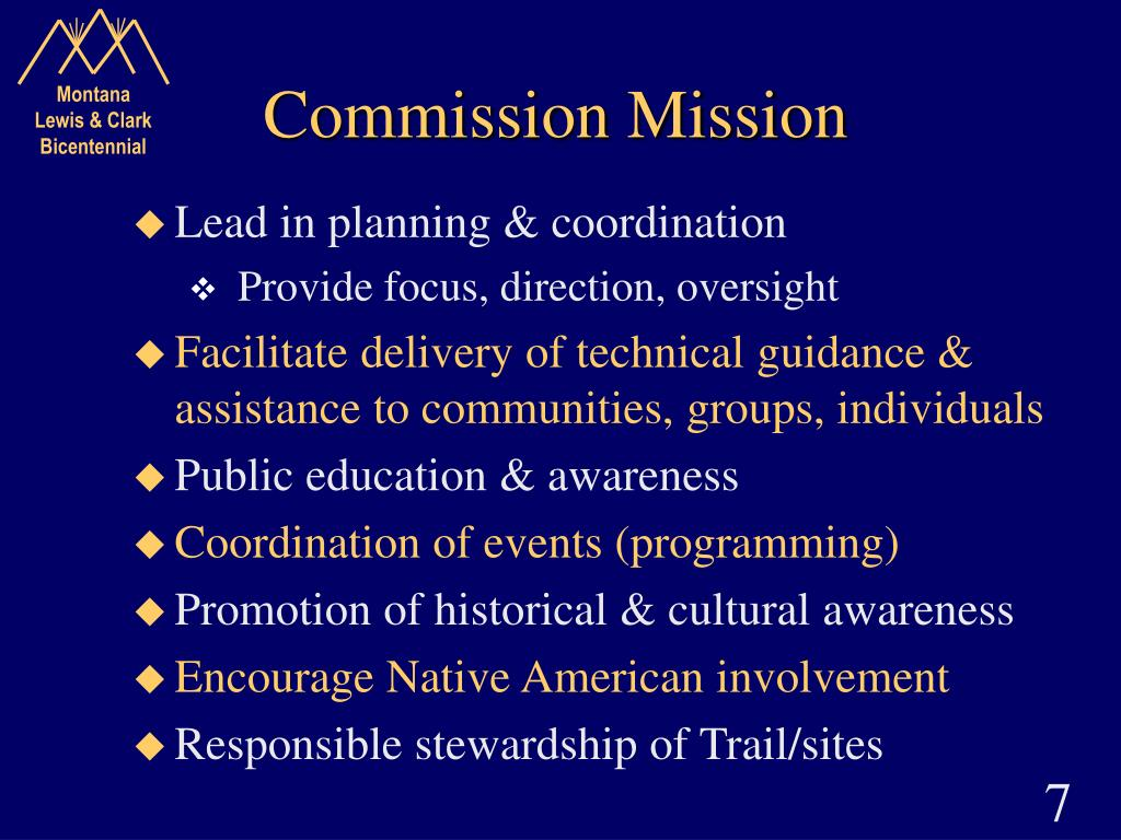 Commission Mission