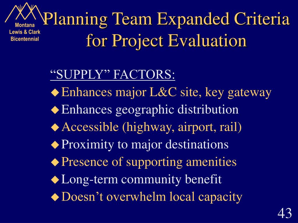 Planning Team Expanded Criteria for Project Evaluation