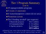 tier 1 program summary cont d