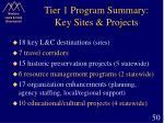 tier 1 program summary key sites projects