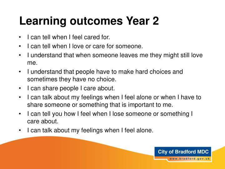 Learning outcomes Year 2