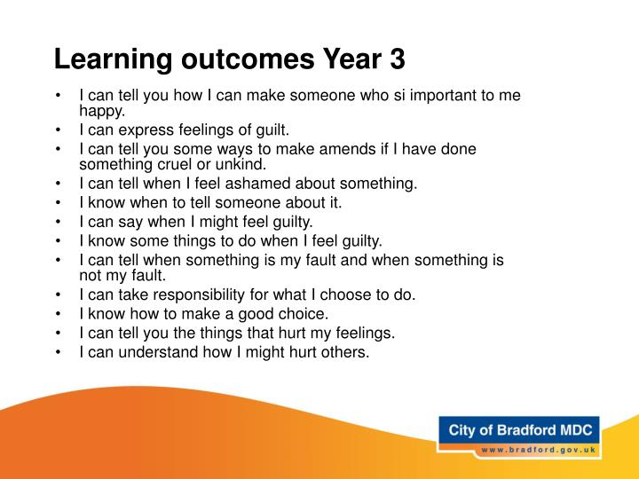 Learning outcomes Year 3