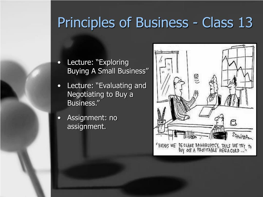 Principles of Business - Class 13