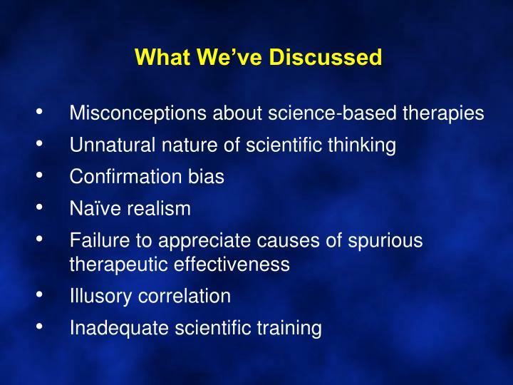 What We've Discussed