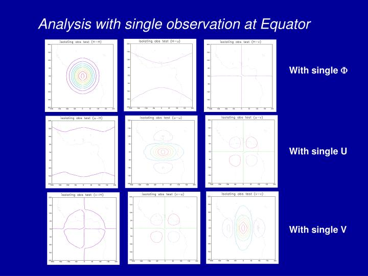 Analysis with single observation at Equator