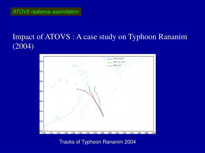 Impact of ATOVS : A case study on Typhoon Rananim (2004)