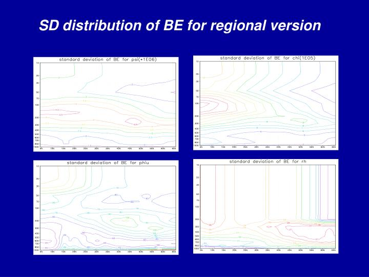 SD distribution of BE for regional version