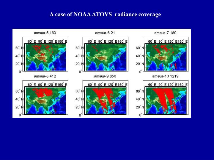 A case of NOAA ATOVS  radiance coverage