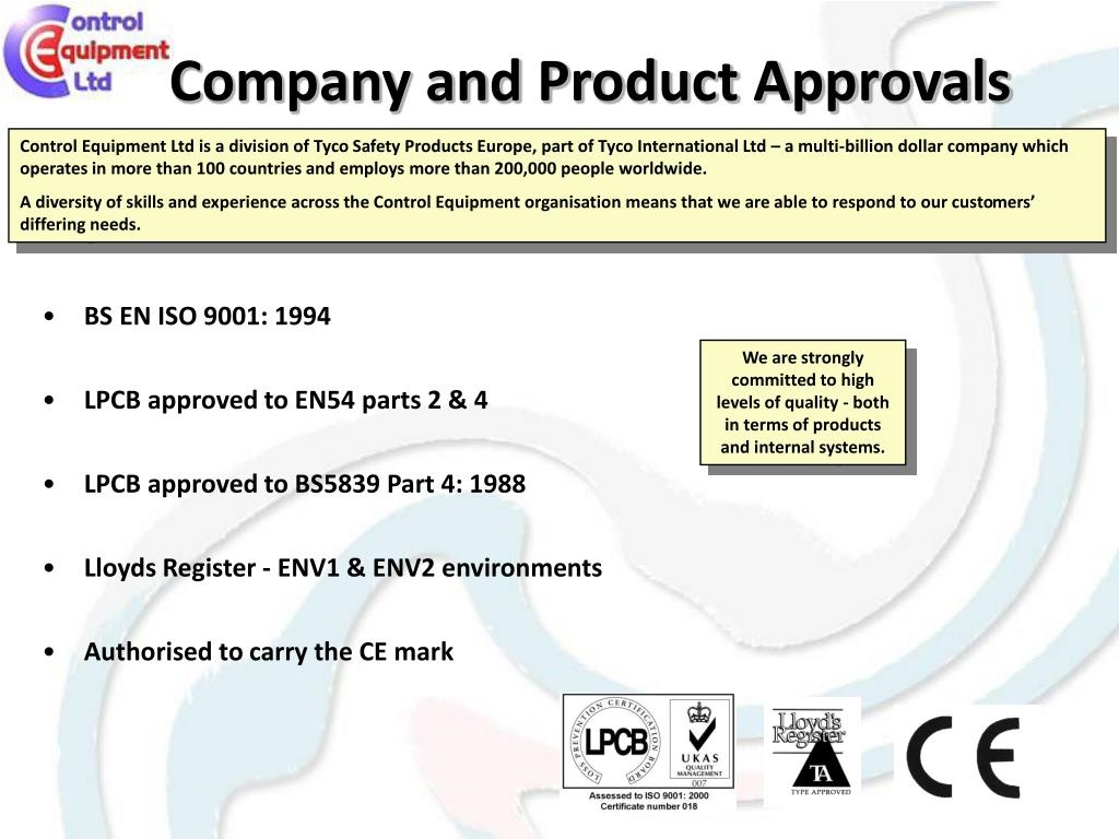 Company and Product Approvals