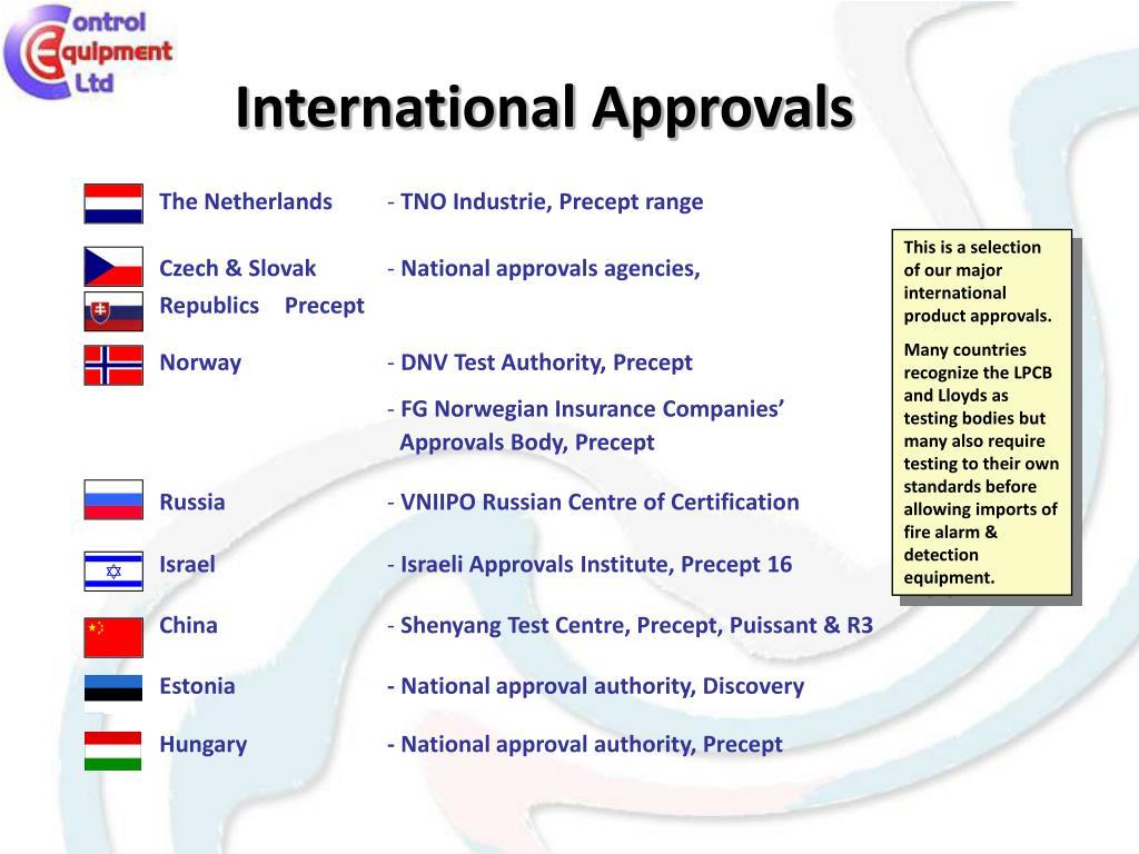 International Approvals