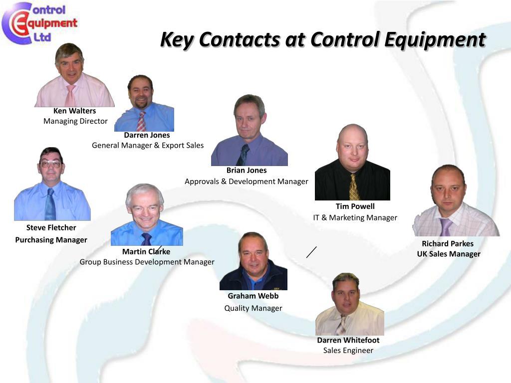 Key Contacts at Control Equipment