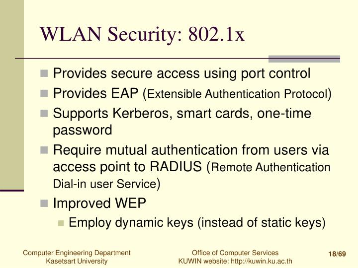 WLAN Security: 802.1x