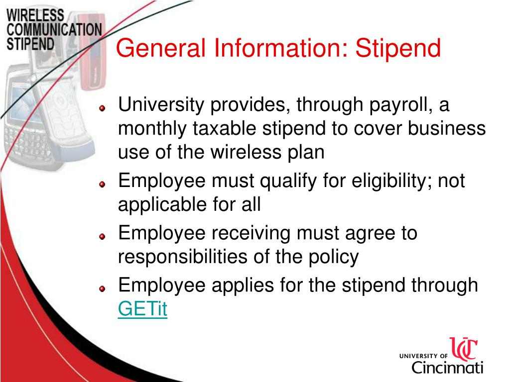 General Information: Stipend
