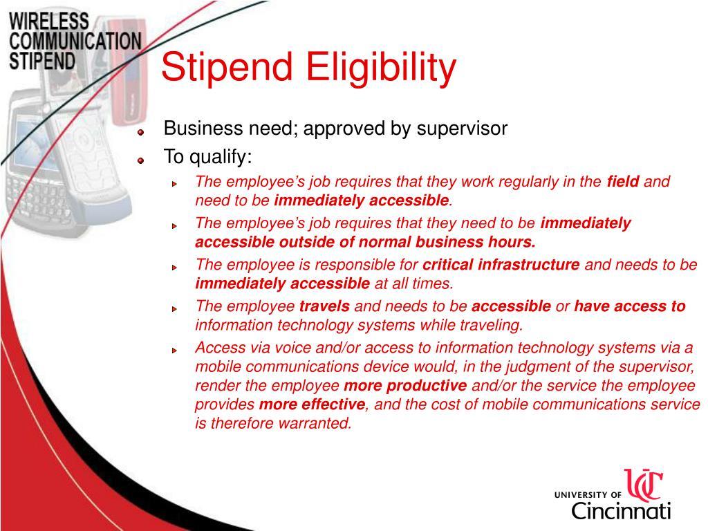 Stipend Eligibility