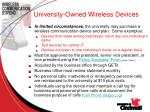 university owned wireless devices