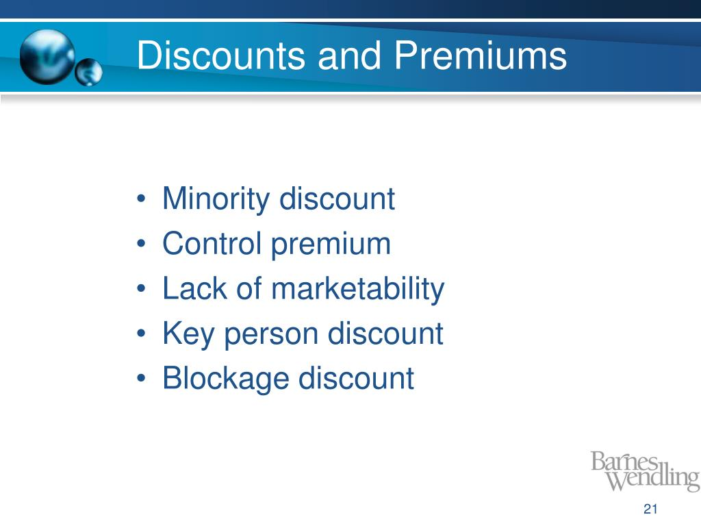 Discounts and Premiums