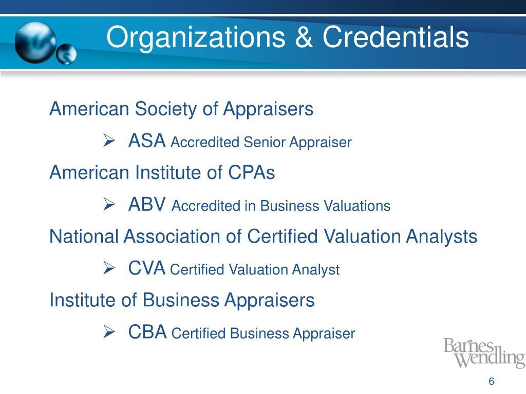 Organizations & Credentials