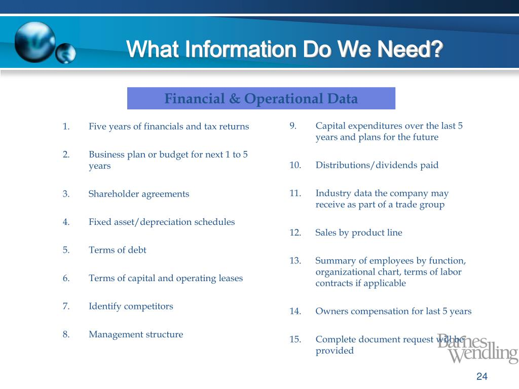 What Information Do We Need?