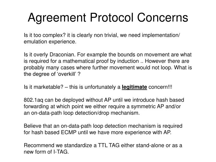 Agreement Protocol Concerns