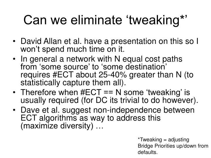 Can we eliminate 'tweaking*'