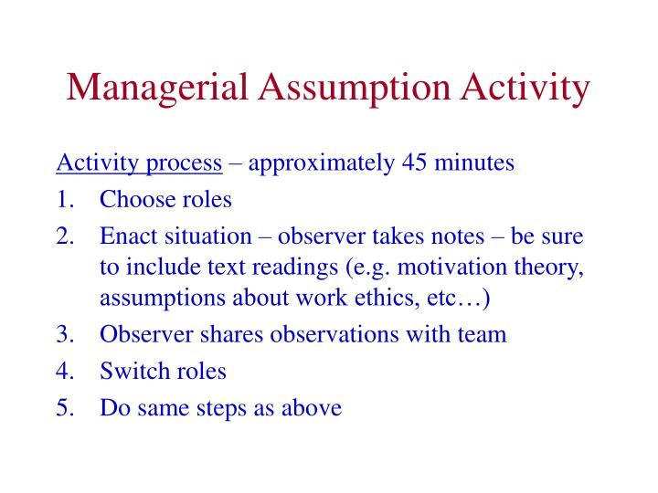 Managerial Assumption Activity