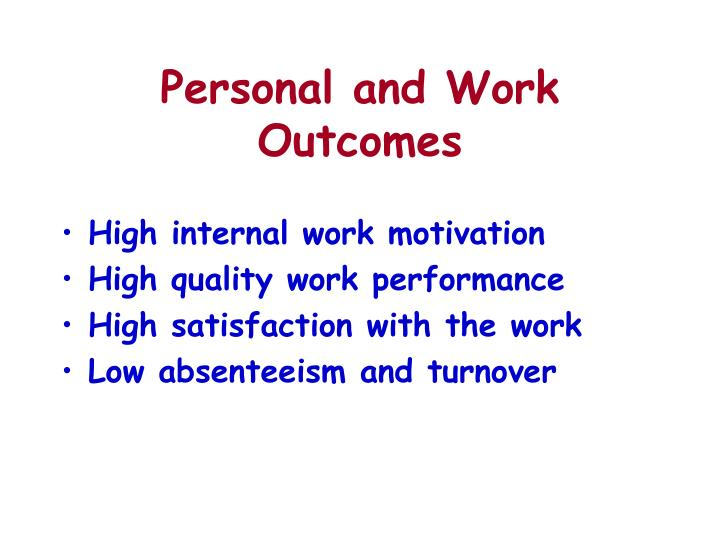Personal and Work Outcomes