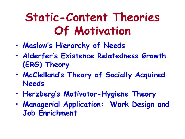 Static-Content Theories Of Motivation