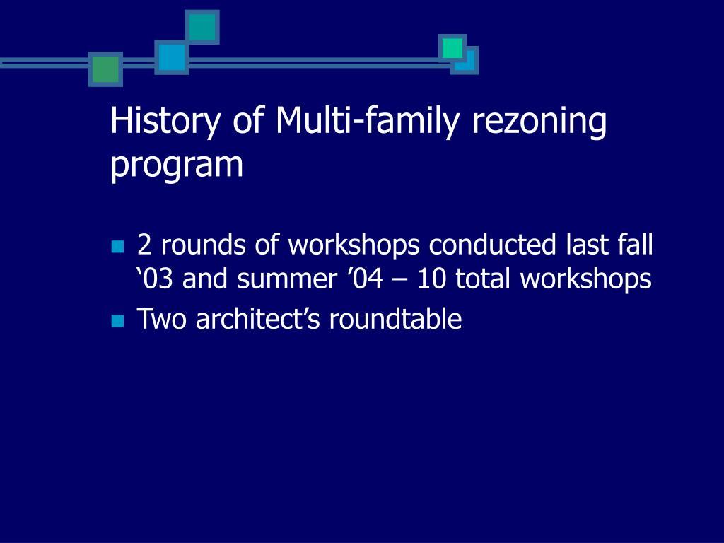 History of Multi-family rezoning program