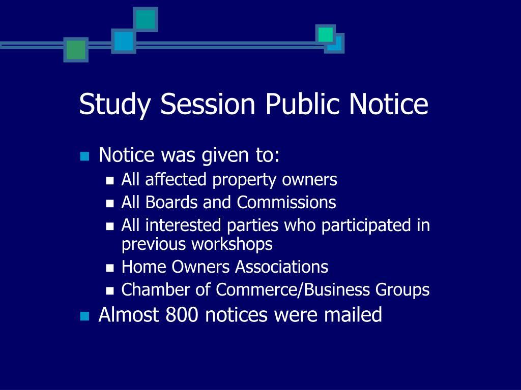 Study Session Public Notice