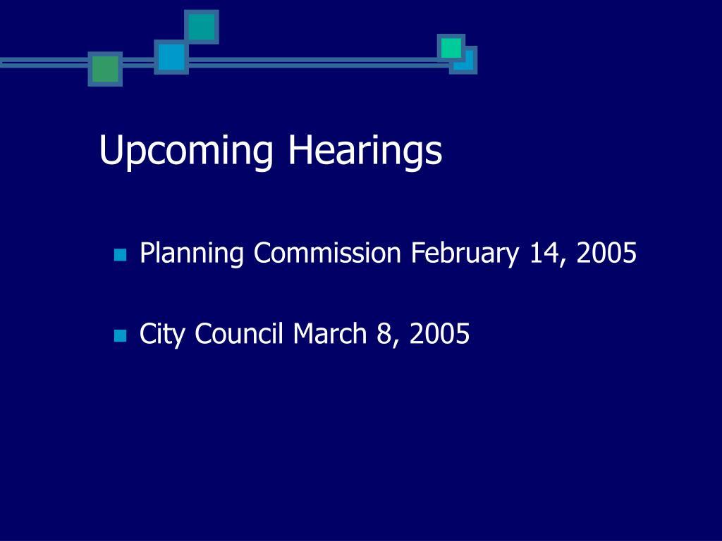 Upcoming Hearings