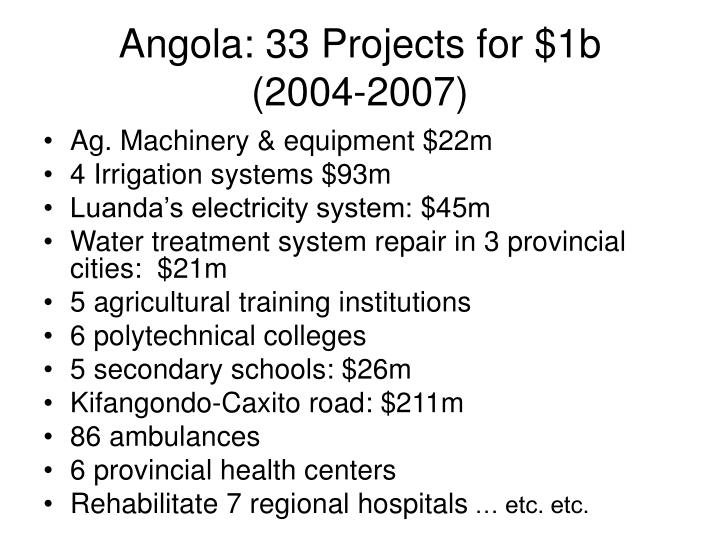 Angola: 33 Projects for $1b