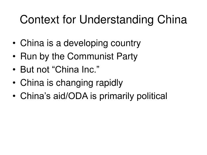 Context for Understanding China
