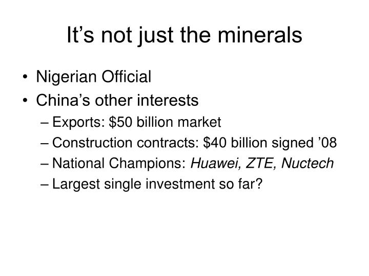 It's not just the minerals