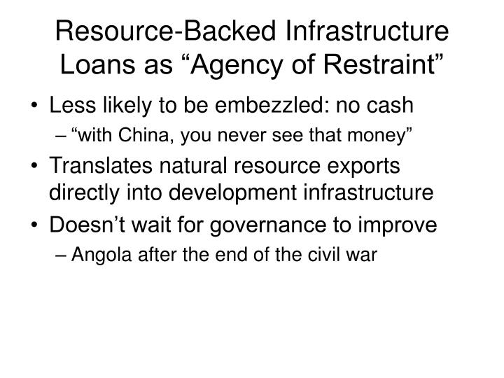 "Resource-Backed Infrastructure Loans as ""Agency of Restraint"""