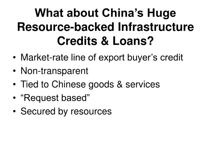 What about China's Huge Resource-backed Infrastructure Credits & Loans?