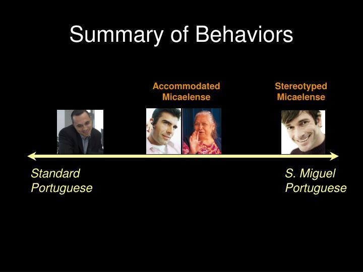 Summary of Behaviors