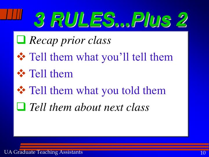 3 RULES...Plus 2