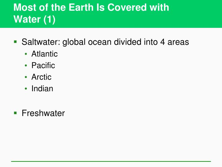 Most of the Earth Is Covered with
