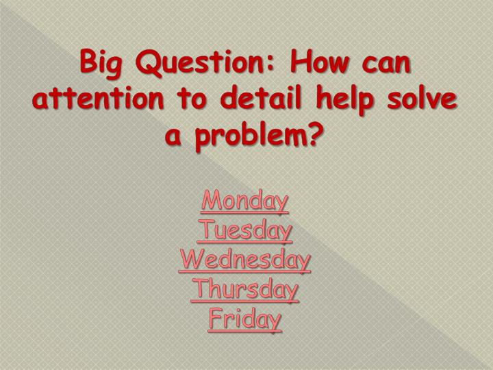 Big Question: How can attention to detail help solve a problem?