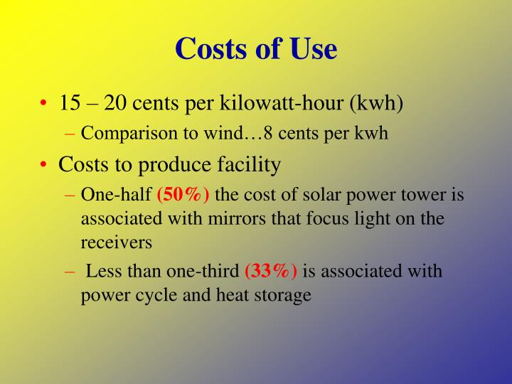 Costs of Use