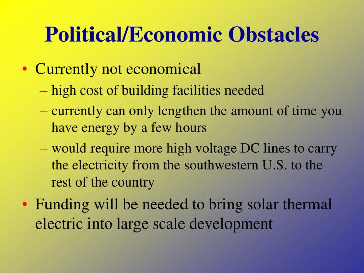 Political/Economic Obstacles
