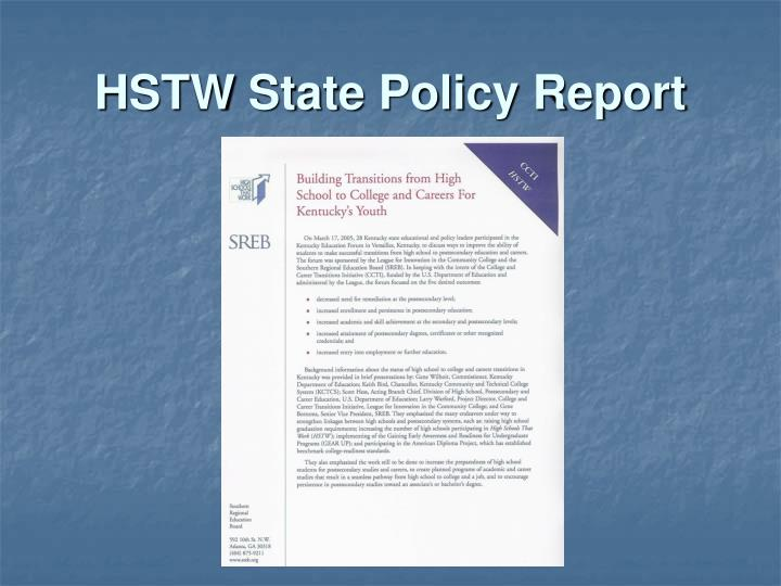 HSTW State Policy Report