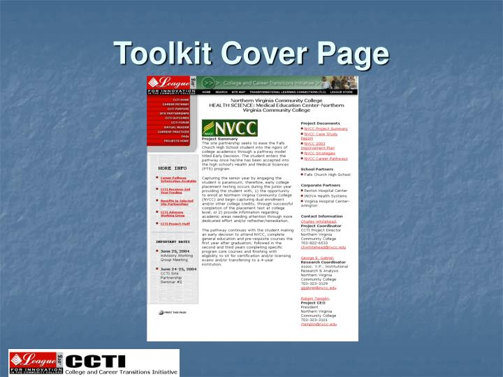 Toolkit Cover Page