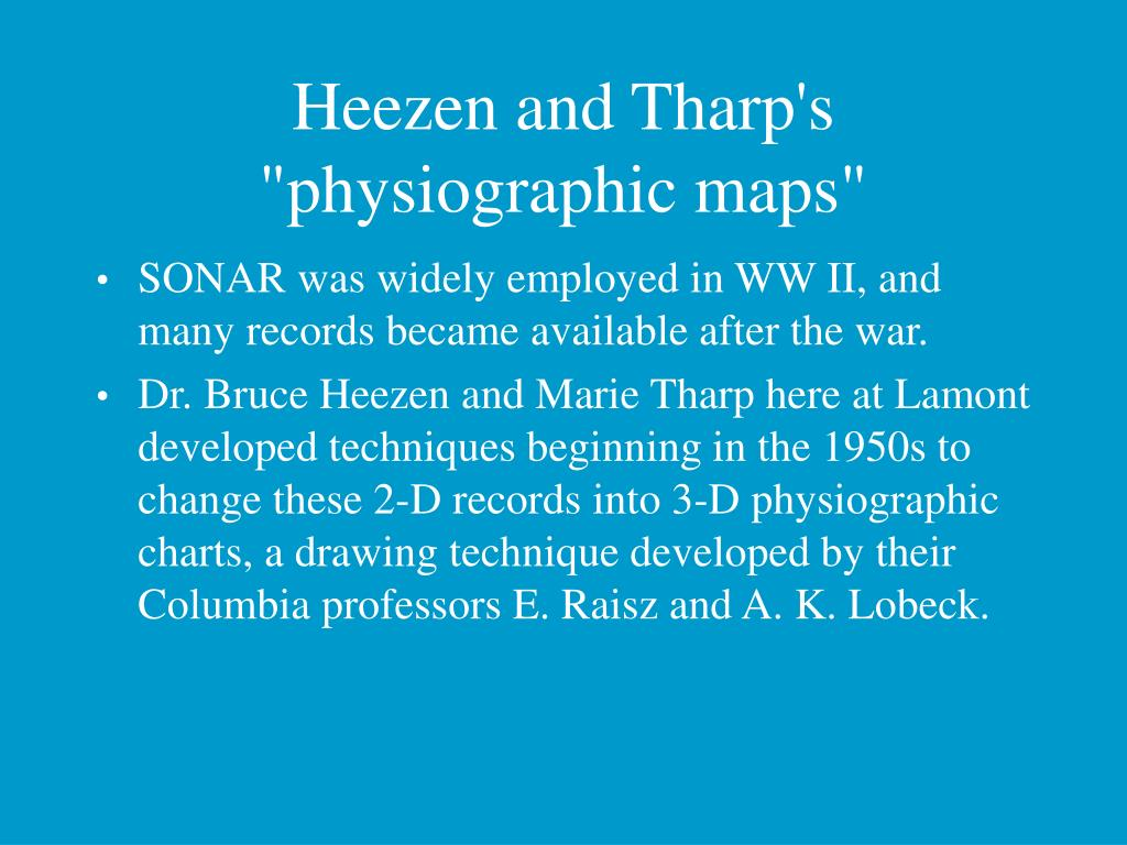 "Heezen and Tharp's ""physiographic maps"""