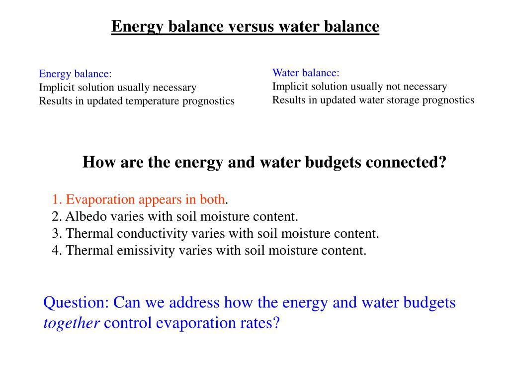 Energy balance versus water balance