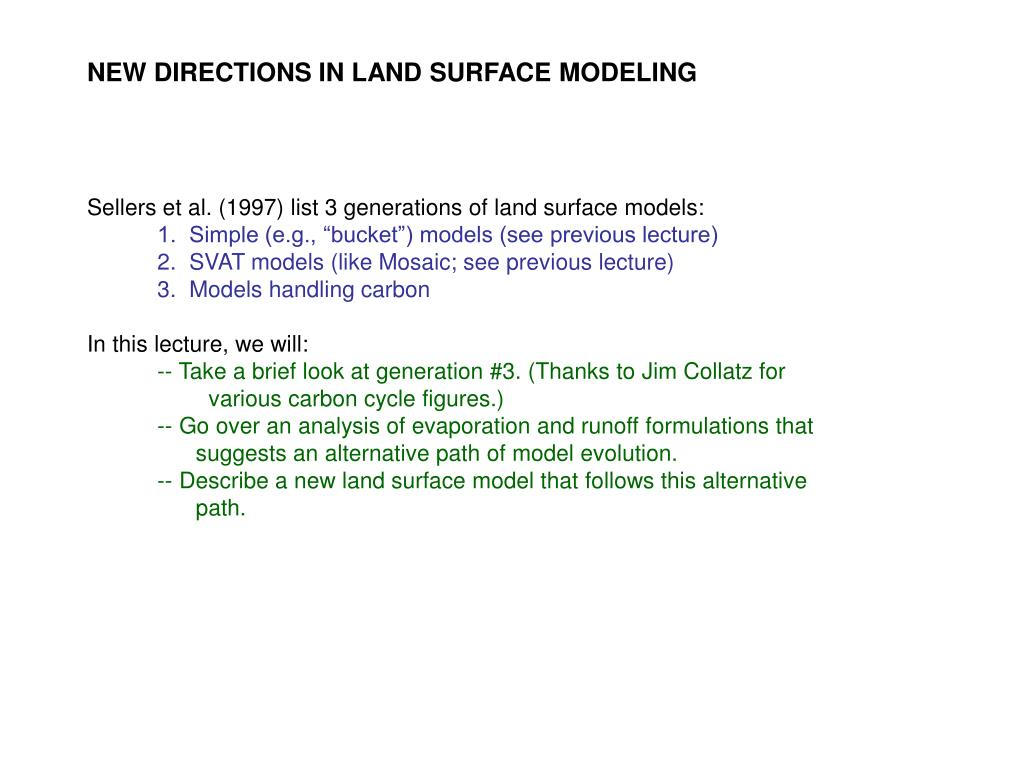 NEW DIRECTIONS IN LAND SURFACE MODELING