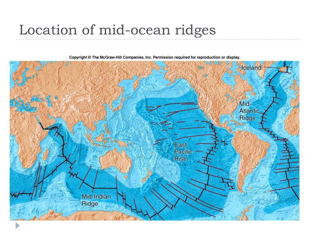 Location of mid-ocean ridges