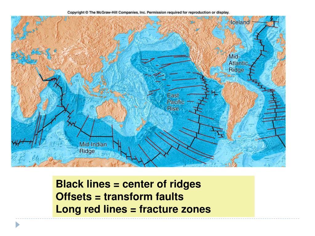 Black lines = center of ridges